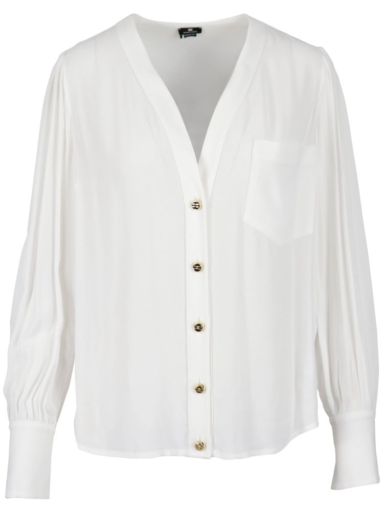 Elisabetta Franchi ELISABETTA FRANCHI WOMEN'S WHITE OTHER MATERIALS SHIRT
