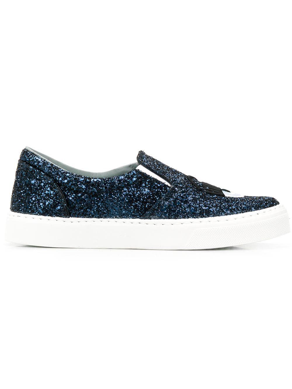 Chiara Ferragni Blue Slip On Sneakers