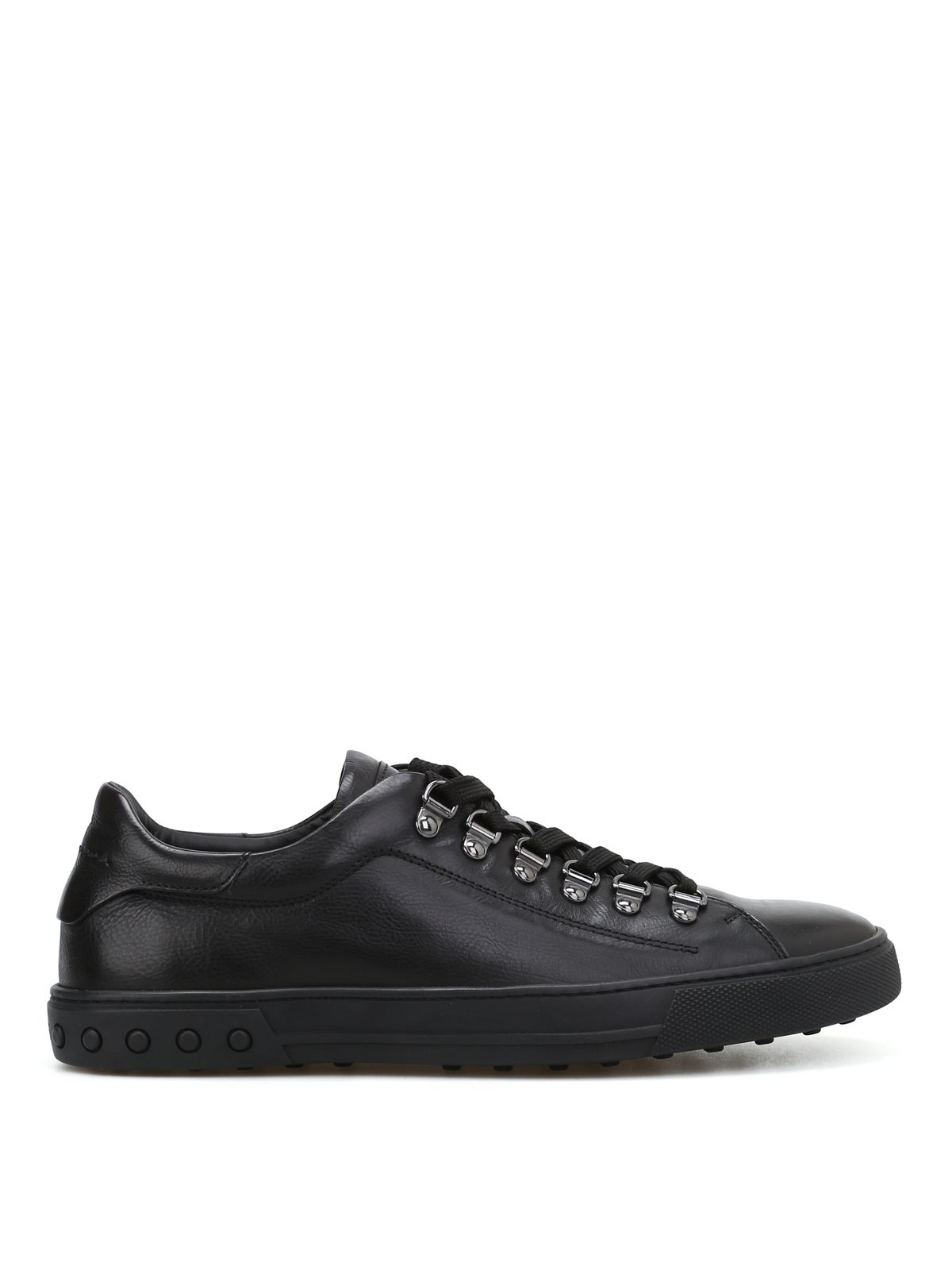 Tod's Black Leather Sneakers With Gommini