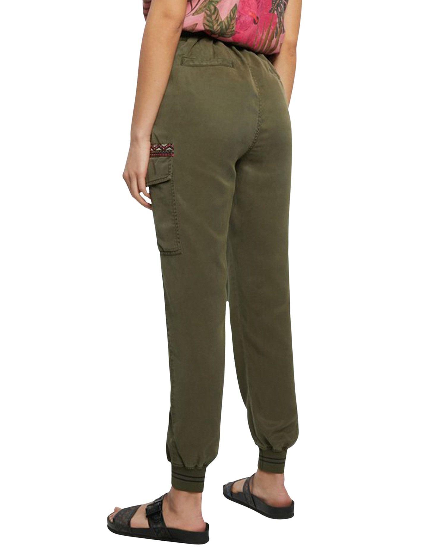 DESIGUAL Pants DESIGUAL WOMEN'S GREEN POLYAMIDE PANTS
