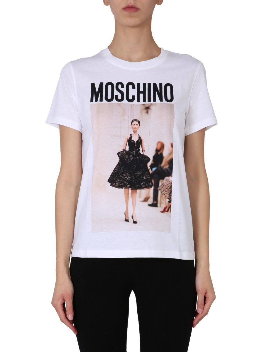 Moschino T-shirts MOSCHINO WOMEN'S WHITE OTHER MATERIALS T-SHIRT