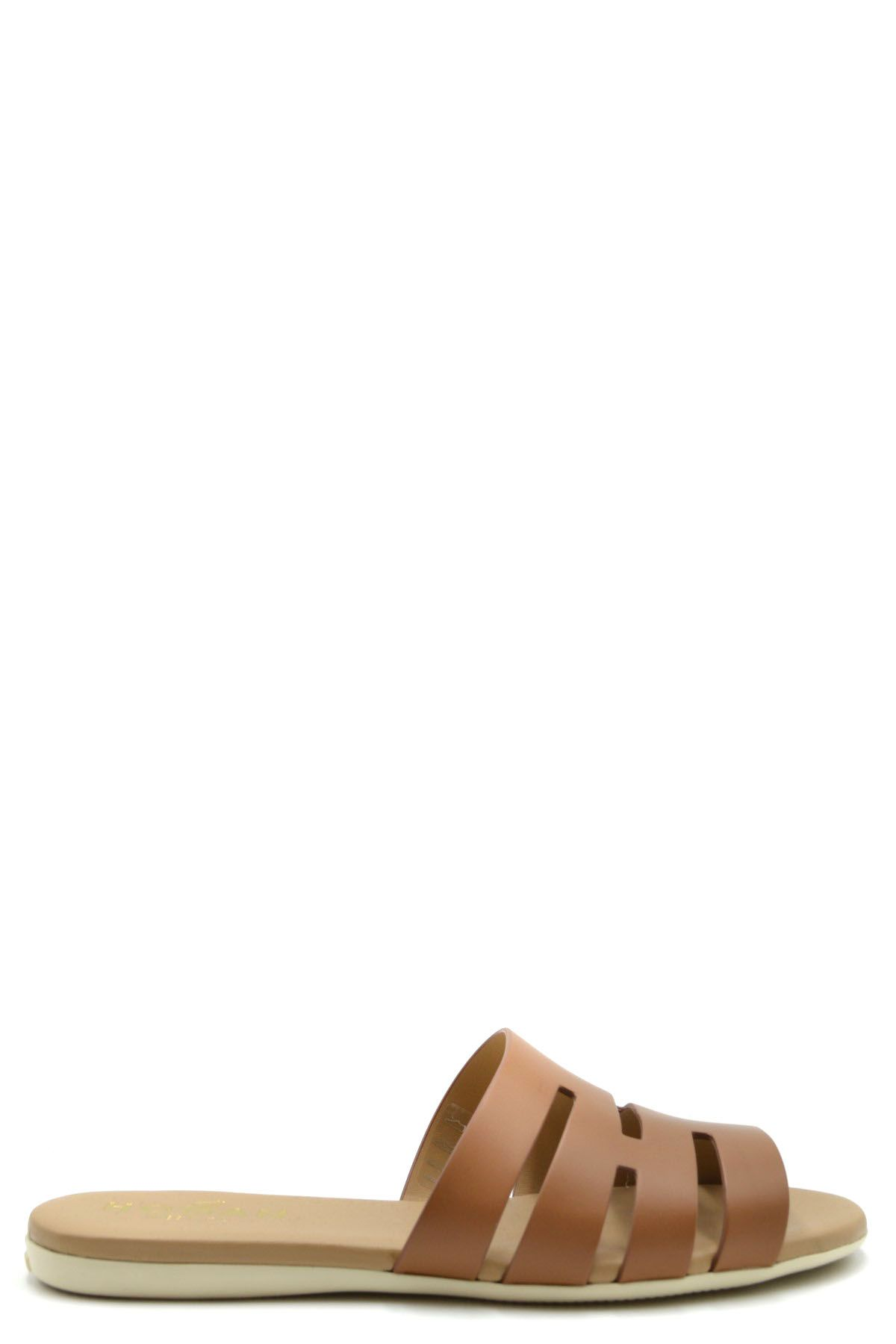 Hogan Women's Genuine Leather Slippers Sandals Valencia In Brown