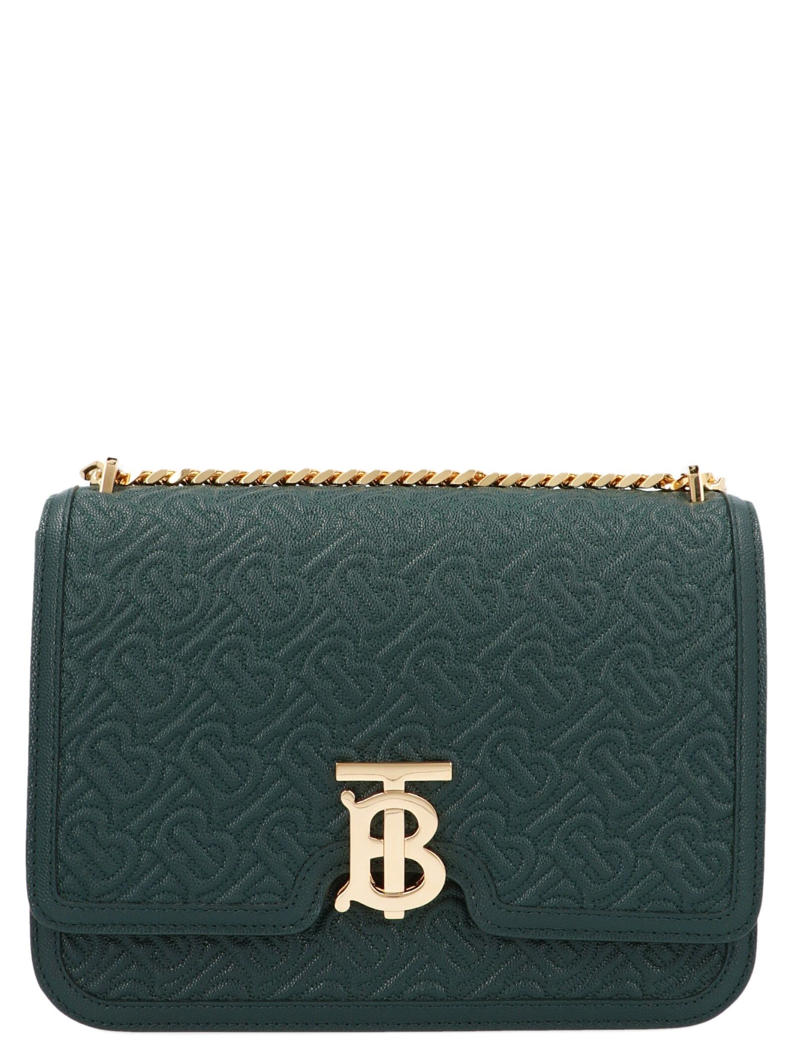 Burberry Women's Green Leather Shoulder Bag