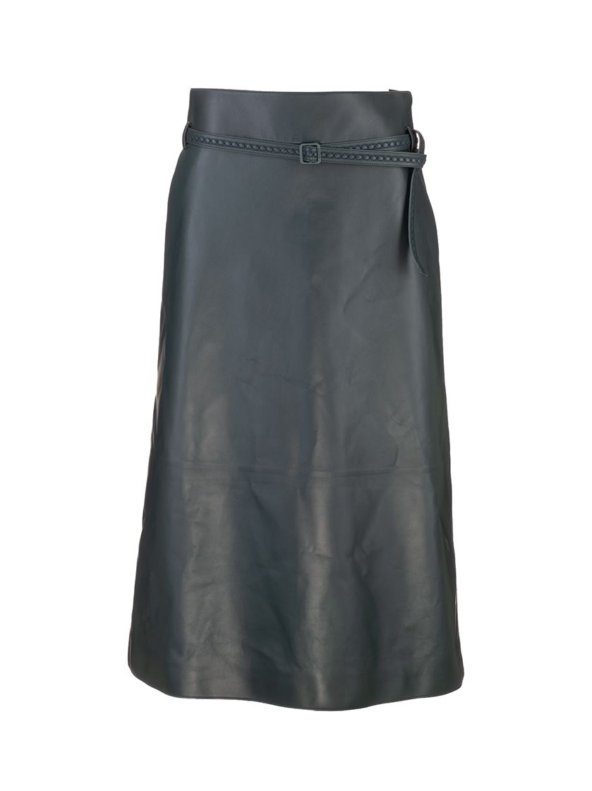 Loro Piana LORO PIANA WOMEN'S BLACK LEATHER SKIRT