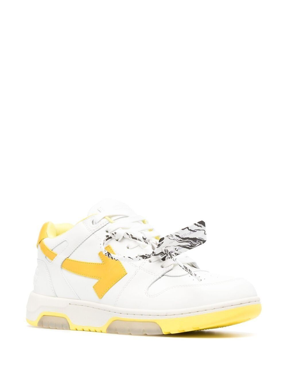 OFF-WHITE Leathers OFF-WHITE MEN'S WHITE LEATHER SNEAKERS