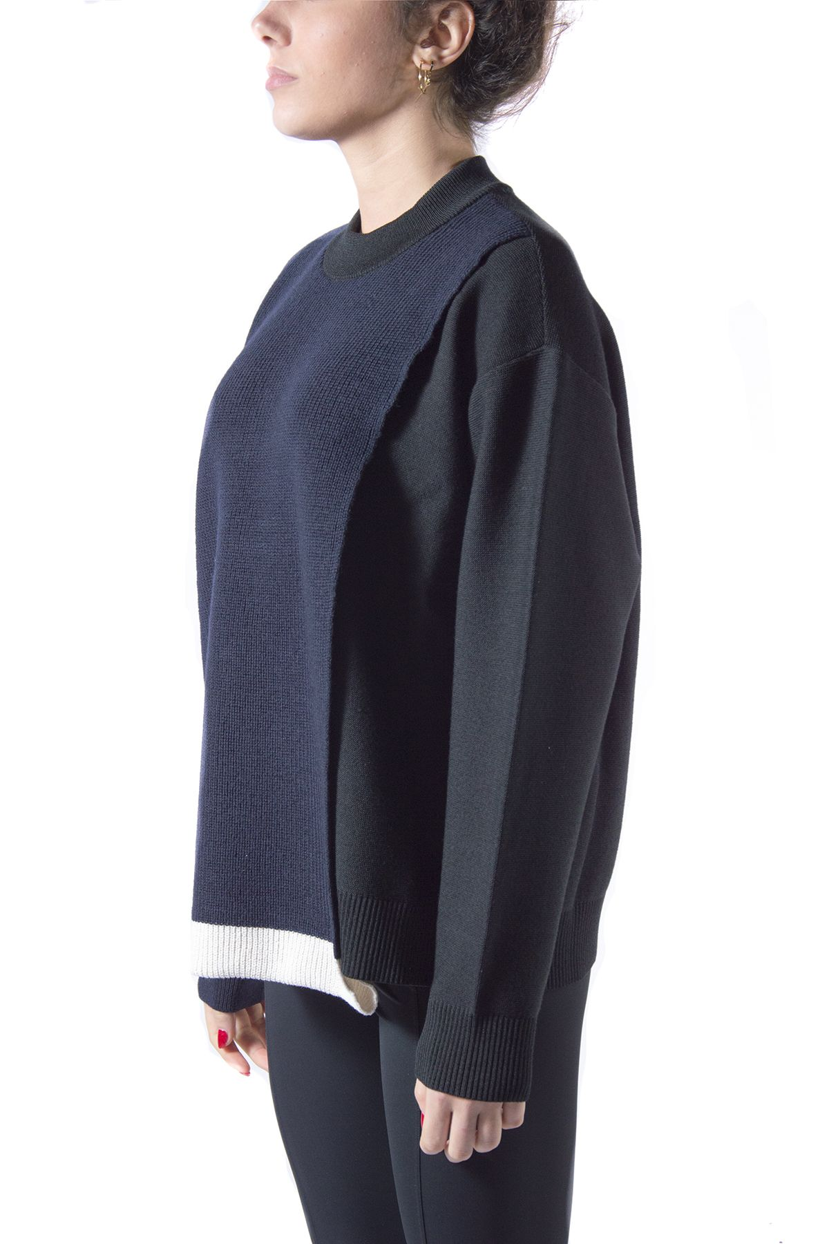 AMBUSH Sweaters AMBUSH WOMEN'S BLACK COTTON SWEATSHIRT