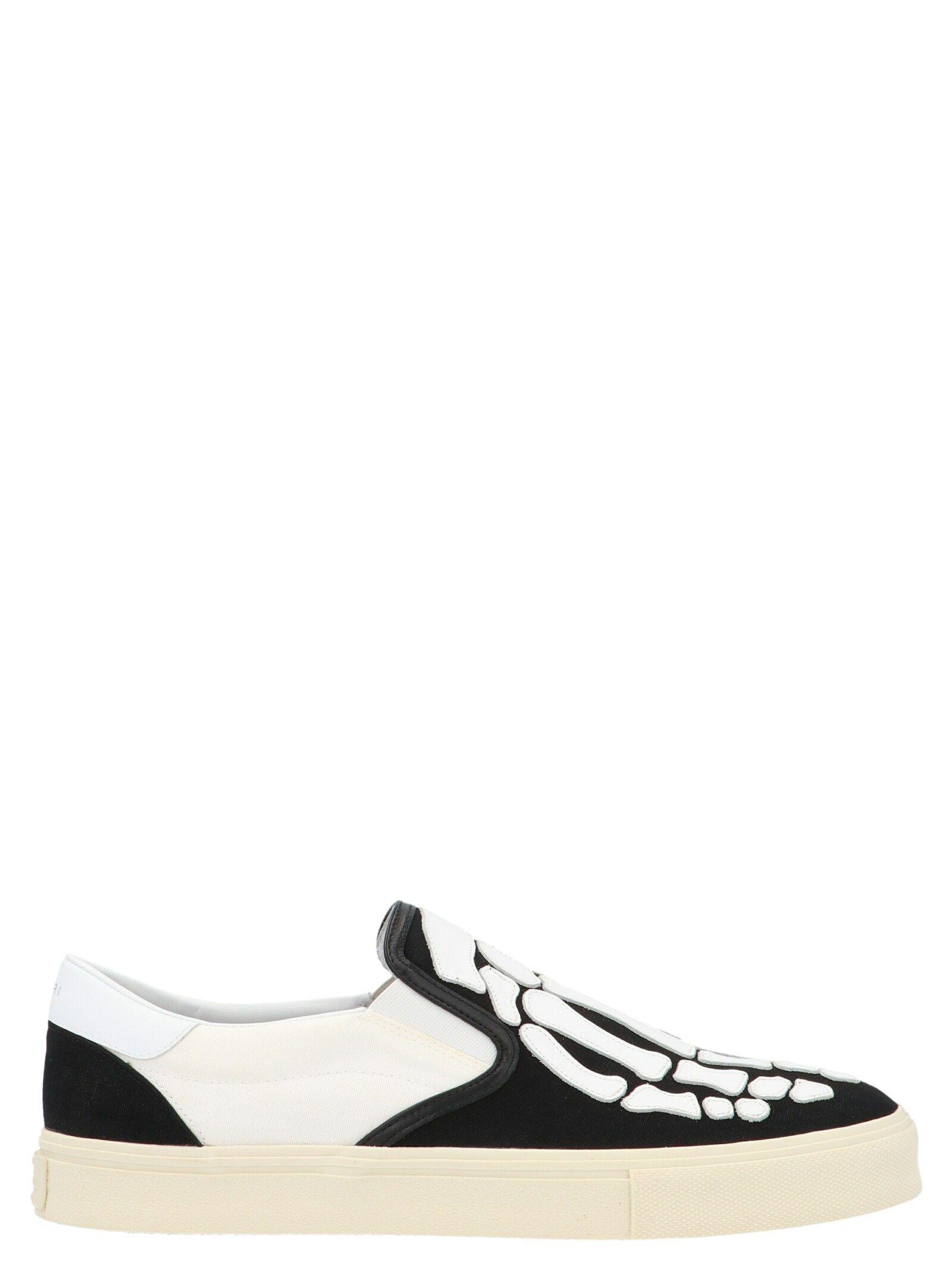 Amiri Skel Toe Leather-appliquÉd Canvas And Suede Slip-on Sneakers In Black