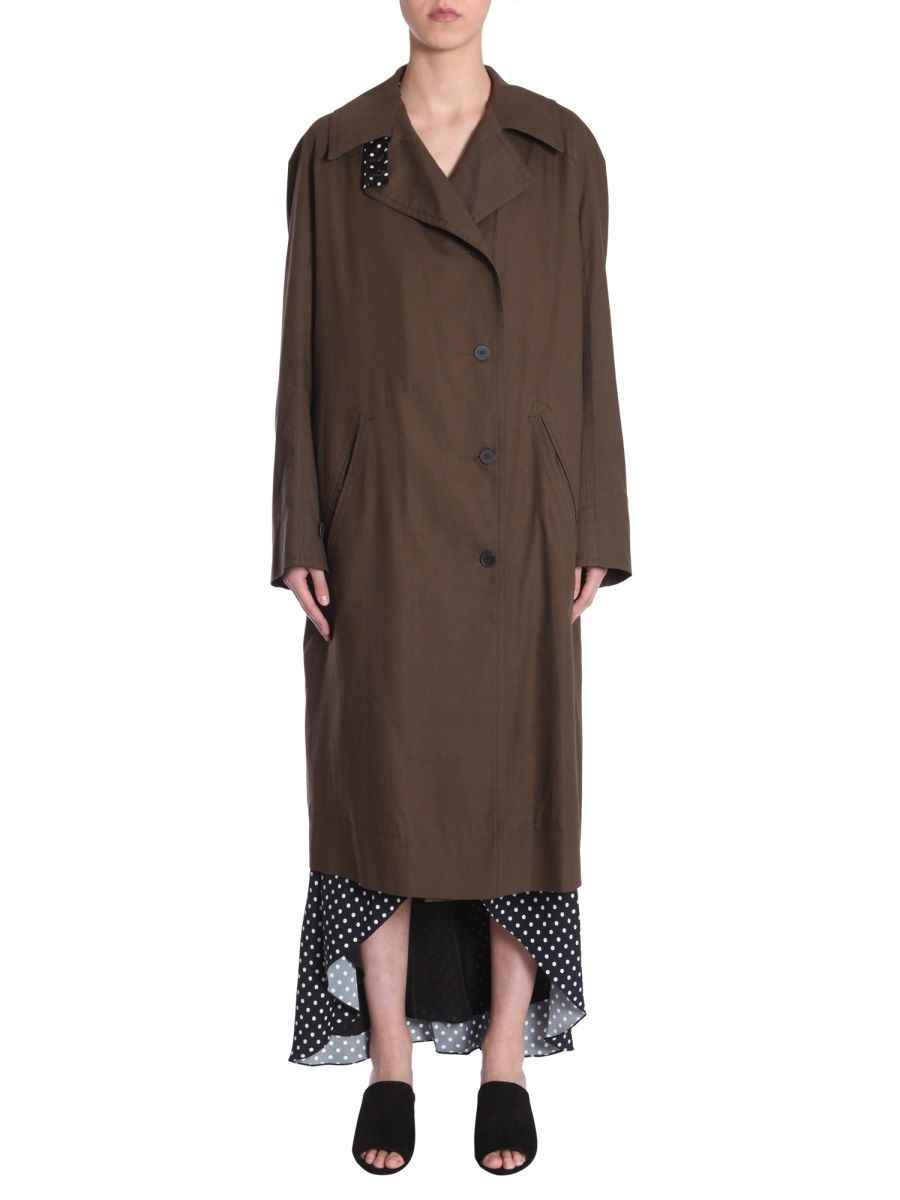 Haider Ackermann Single-breasted Cotton Trench Coat In Green
