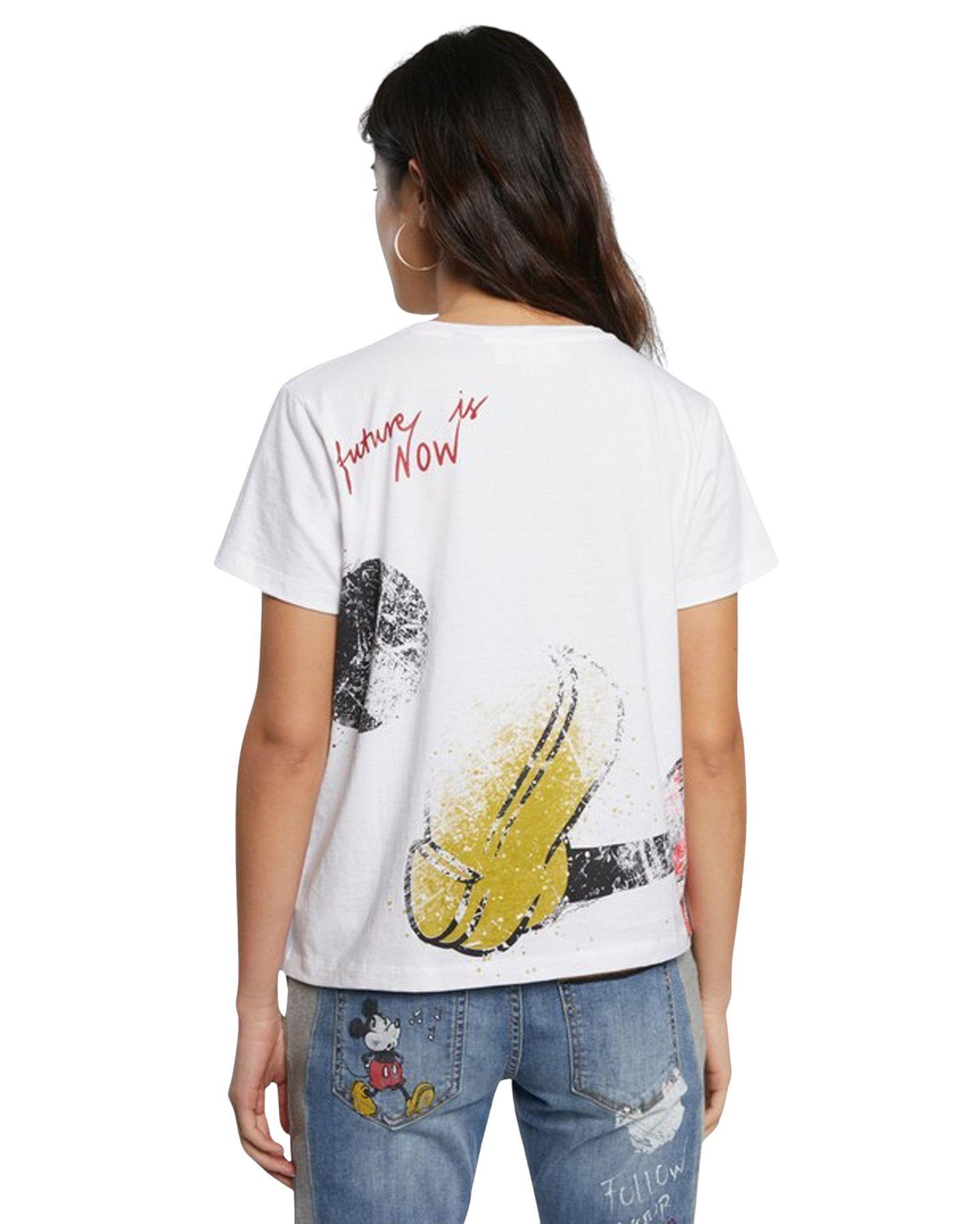 DESIGUAL Cottons DESIGUAL WOMEN'S WHITE COTTON T-SHIRT