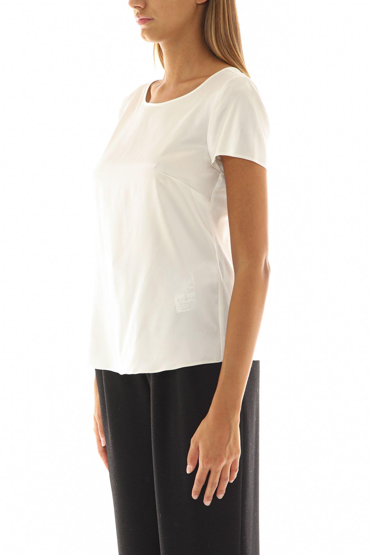 EMPORIO ARMANI Cottons EMPORIO ARMANI WOMEN'S WHITE COTTON T-SHIRT
