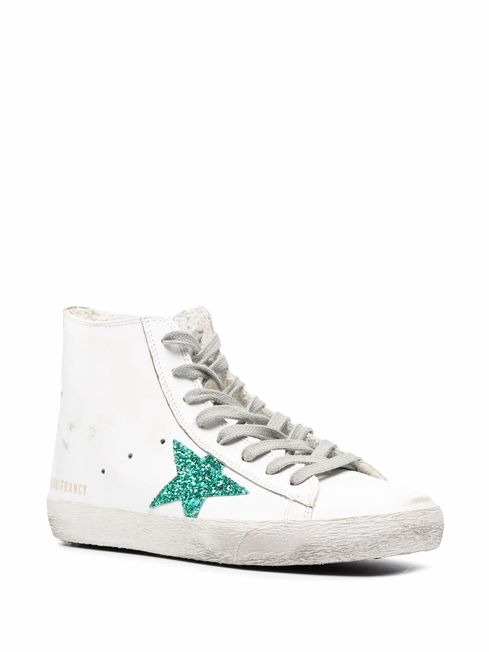 GOLDEN GOOSE Leathers GOLDEN GOOSE WOMEN'S WHITE LEATHER HI TOP SNEAKERS