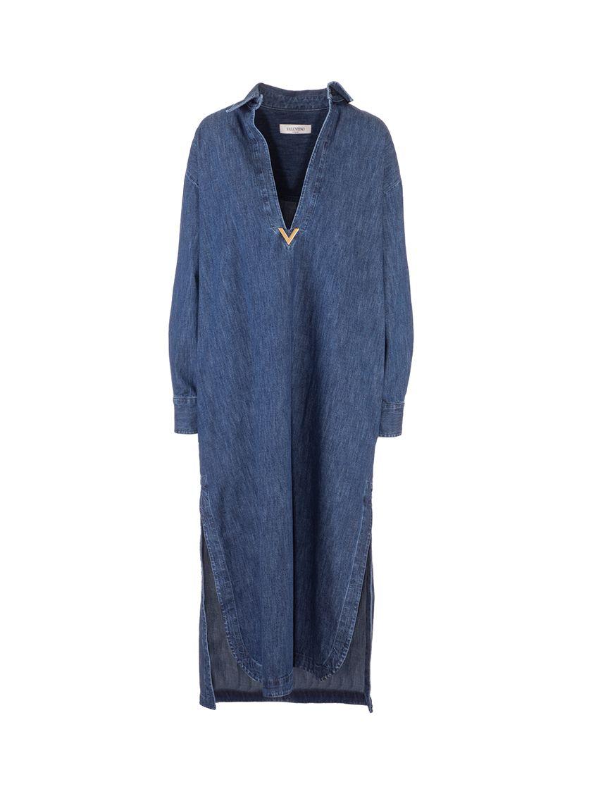 Valentino VALENTINO WOMEN'S BLUE COTTON DRESS
