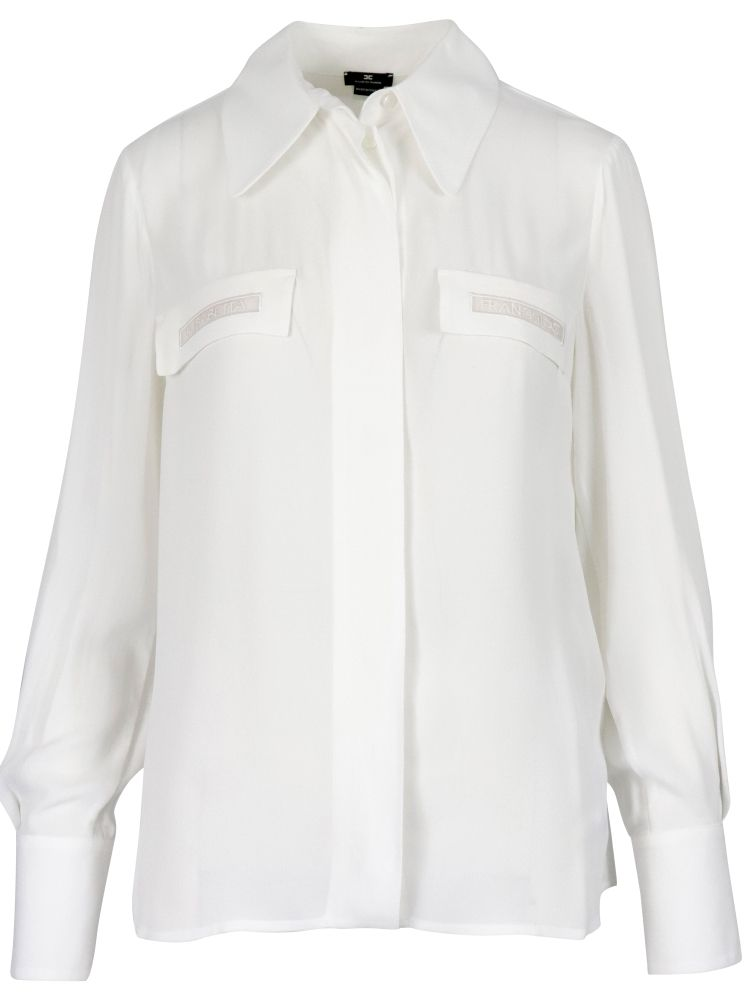 Elisabetta Franchi Shirts ELISABETTA FRANCHI WOMEN'S WHITE OTHER MATERIALS SHIRT