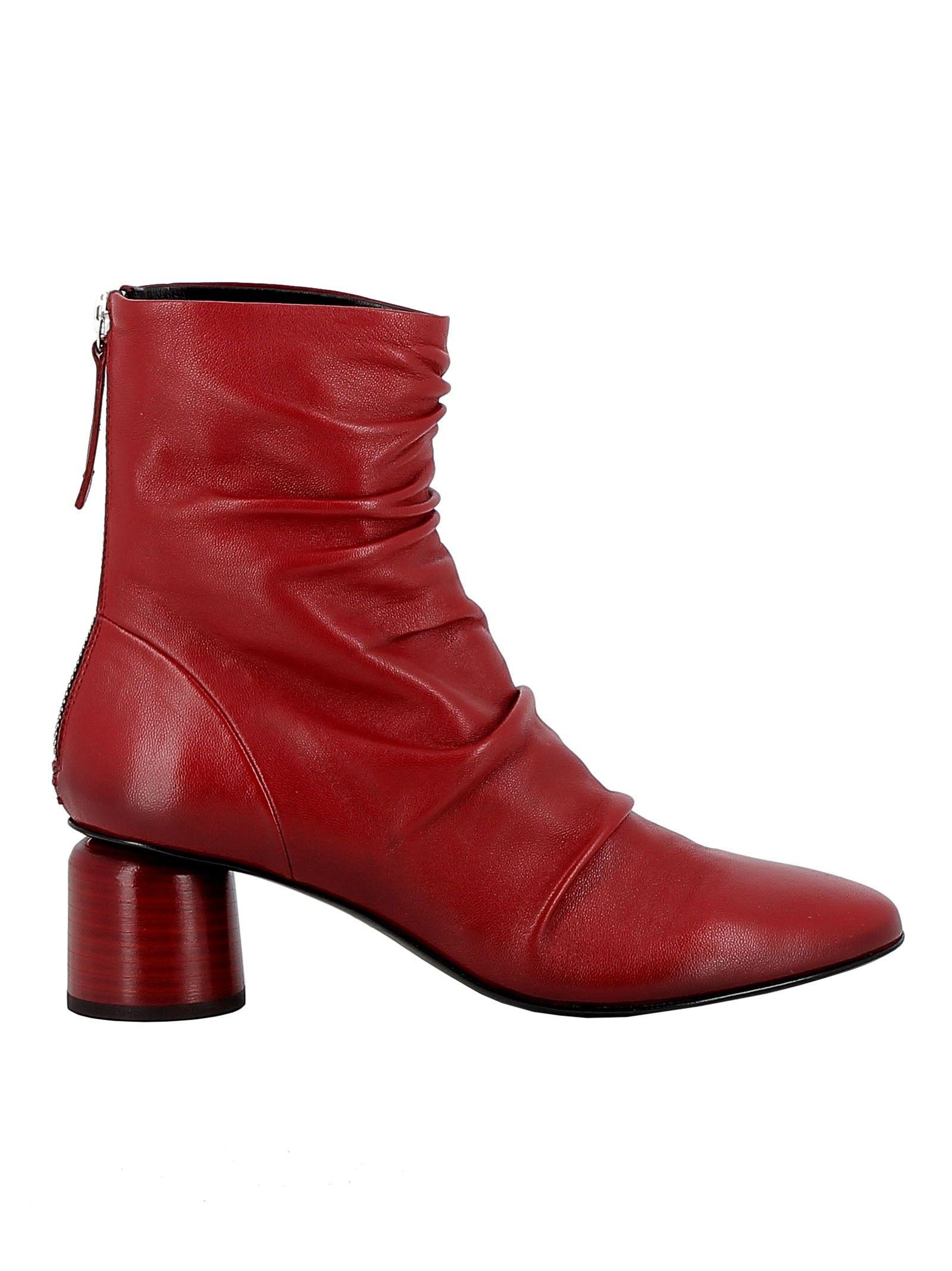 Halmanera RED ANKLE BOOTS