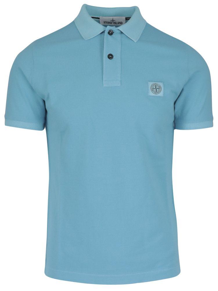 Stone Island Shirts STONE ISLAND MEN'S LIGHT BLUE OTHER MATERIALS POLO SHIRT