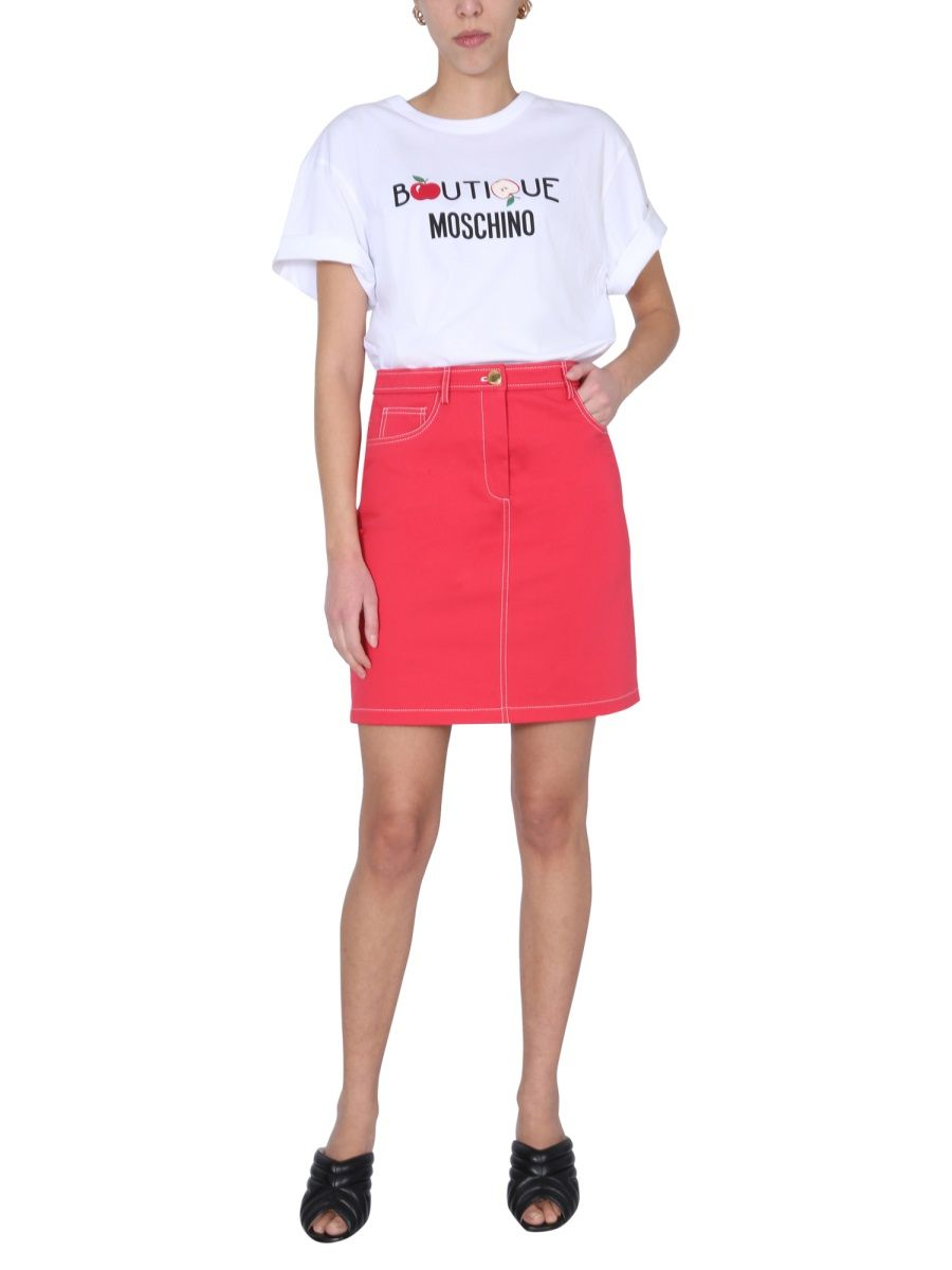 BOUTIQUE MOSCHINO Cottons BOUTIQUE MOSCHINO WOMEN'S WHITE OTHER MATERIALS T-SHIRT