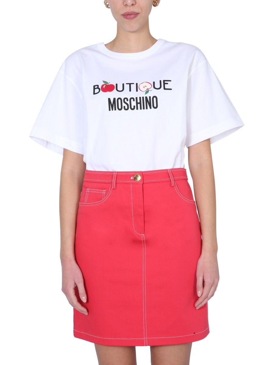 Boutique Moschino BOUTIQUE MOSCHINO WOMEN'S WHITE OTHER MATERIALS T-SHIRT