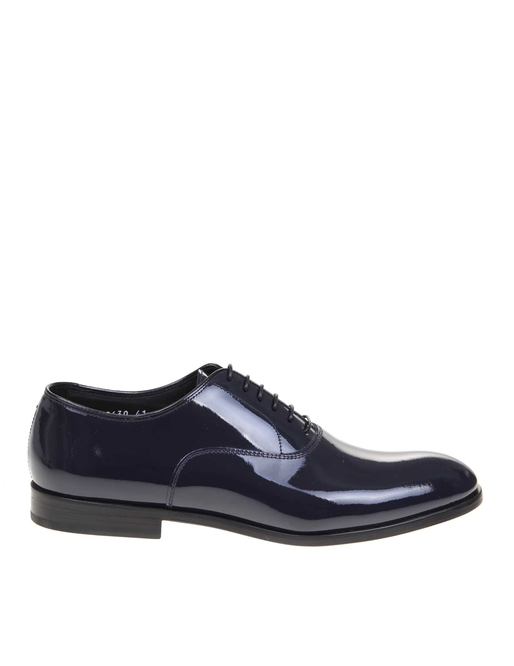 Doucal's BLUE LEATHER LACE-UP SHOES