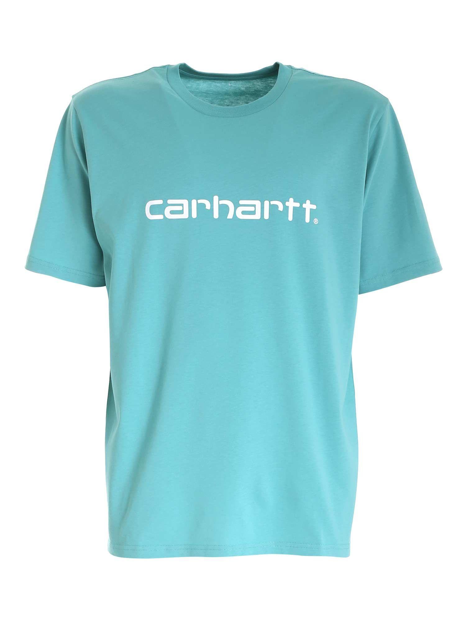 Carhartt Cottons CARHARTT MEN'S LIGHT BLUE COTTON T-SHIRT