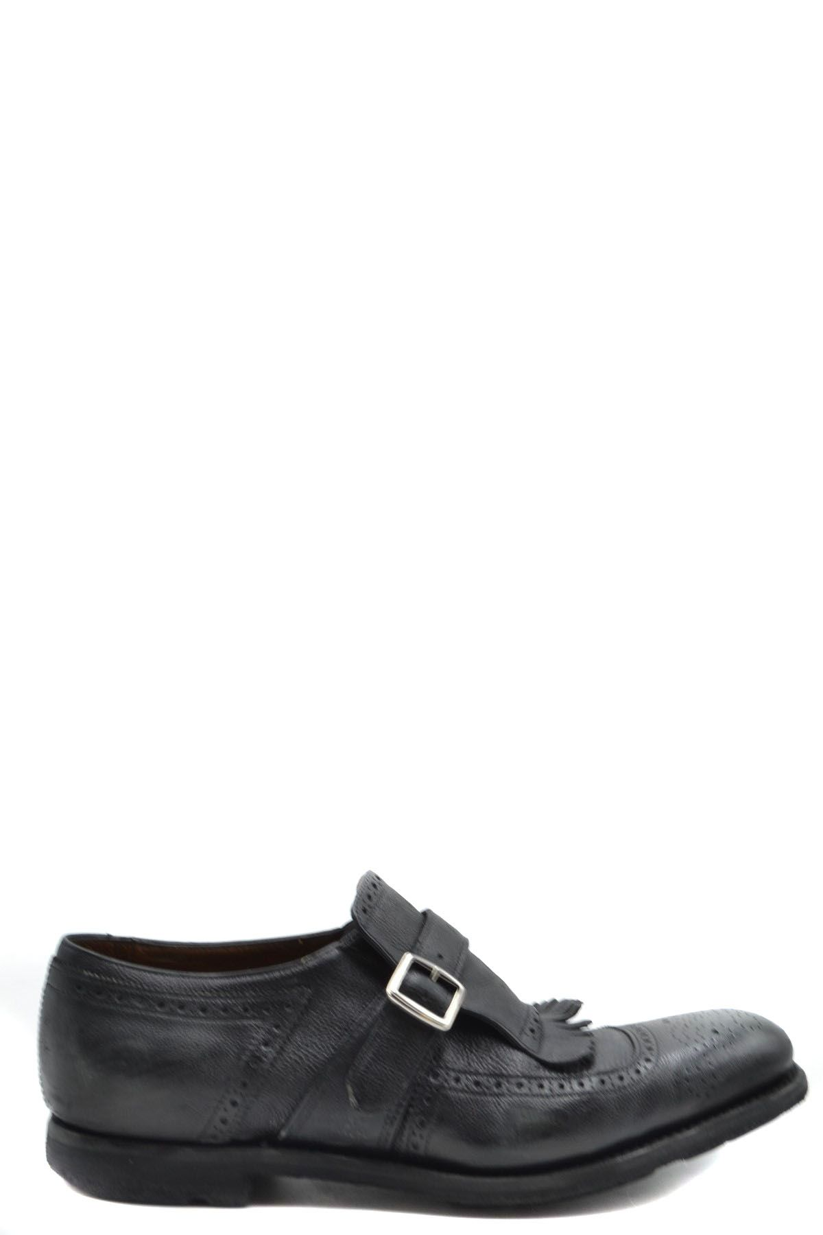 Church's BLACK LEATHER MONK STRAP SHOES