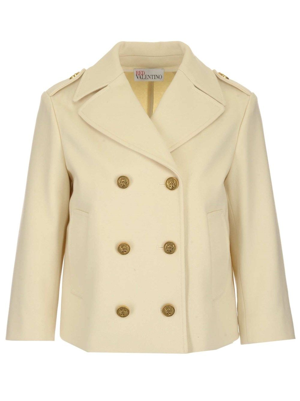 Red Valentino RED VALENTINO WOMEN'S BEIGE OTHER MATERIALS COAT
