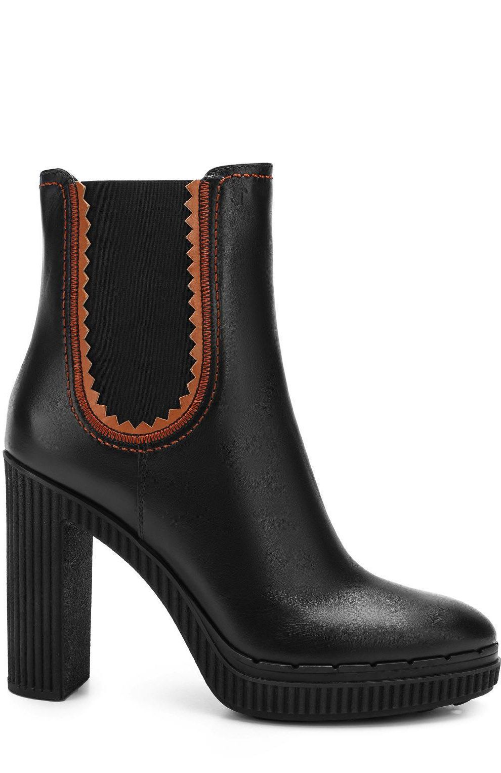 Tod's High Heeled Black Leather Booties