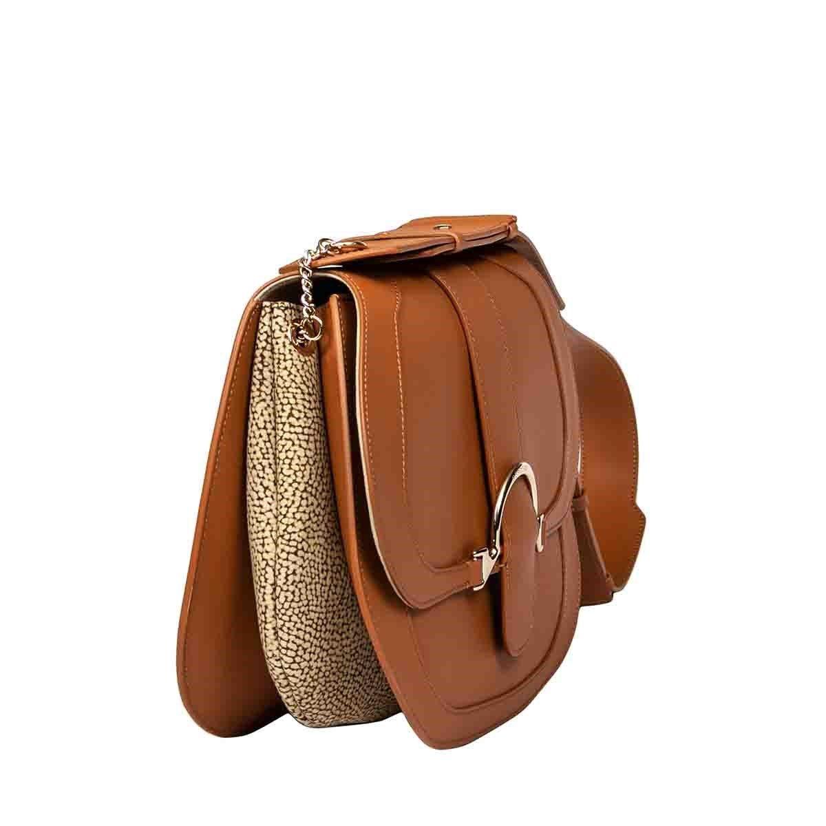 BORBONESE Leathers BORBONESE WOMEN'S BROWN LEATHER SHOULDER BAG