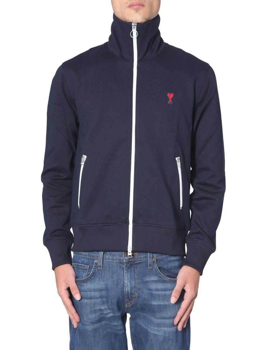 Ami Alexandre Mattiussi Heart Logo Zip Sweatshirt In Blue