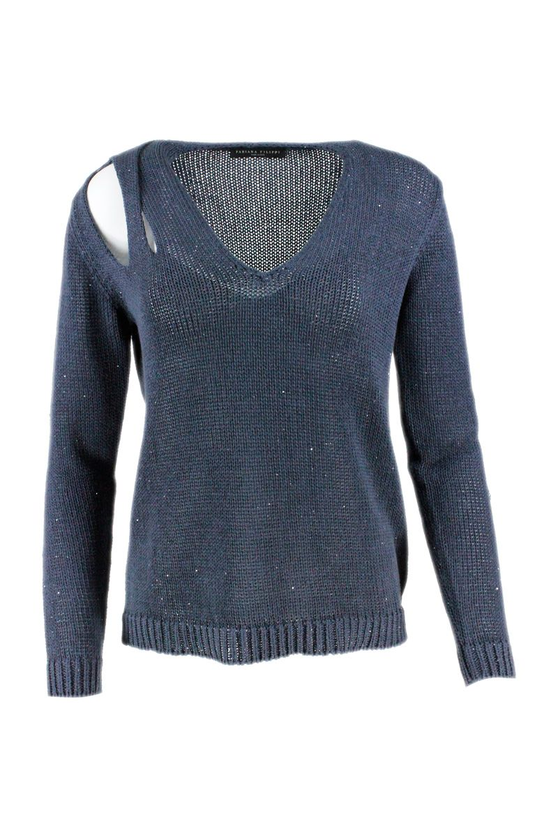 Fabiana Filippi FABIANA FILIPPI WOMEN'S BLUE COTTON SWEATER