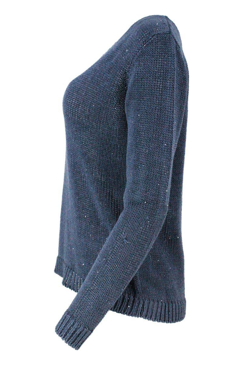 FABIANA FILIPPI Cottons FABIANA FILIPPI WOMEN'S BLUE COTTON SWEATER