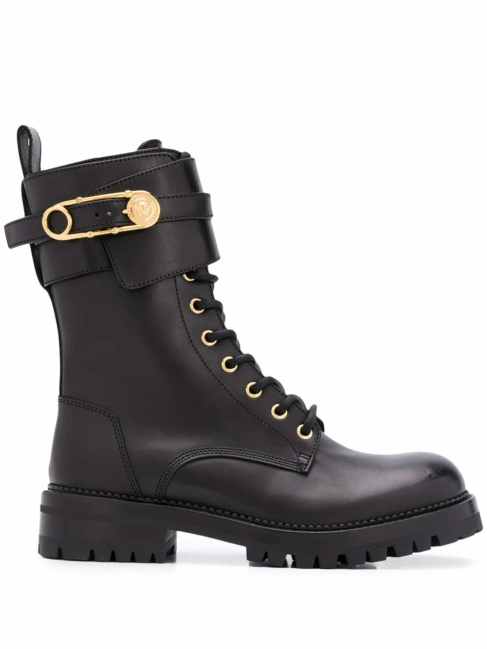 Versace VERSACE WOMEN'S BLACK LEATHER ANKLE BOOTS
