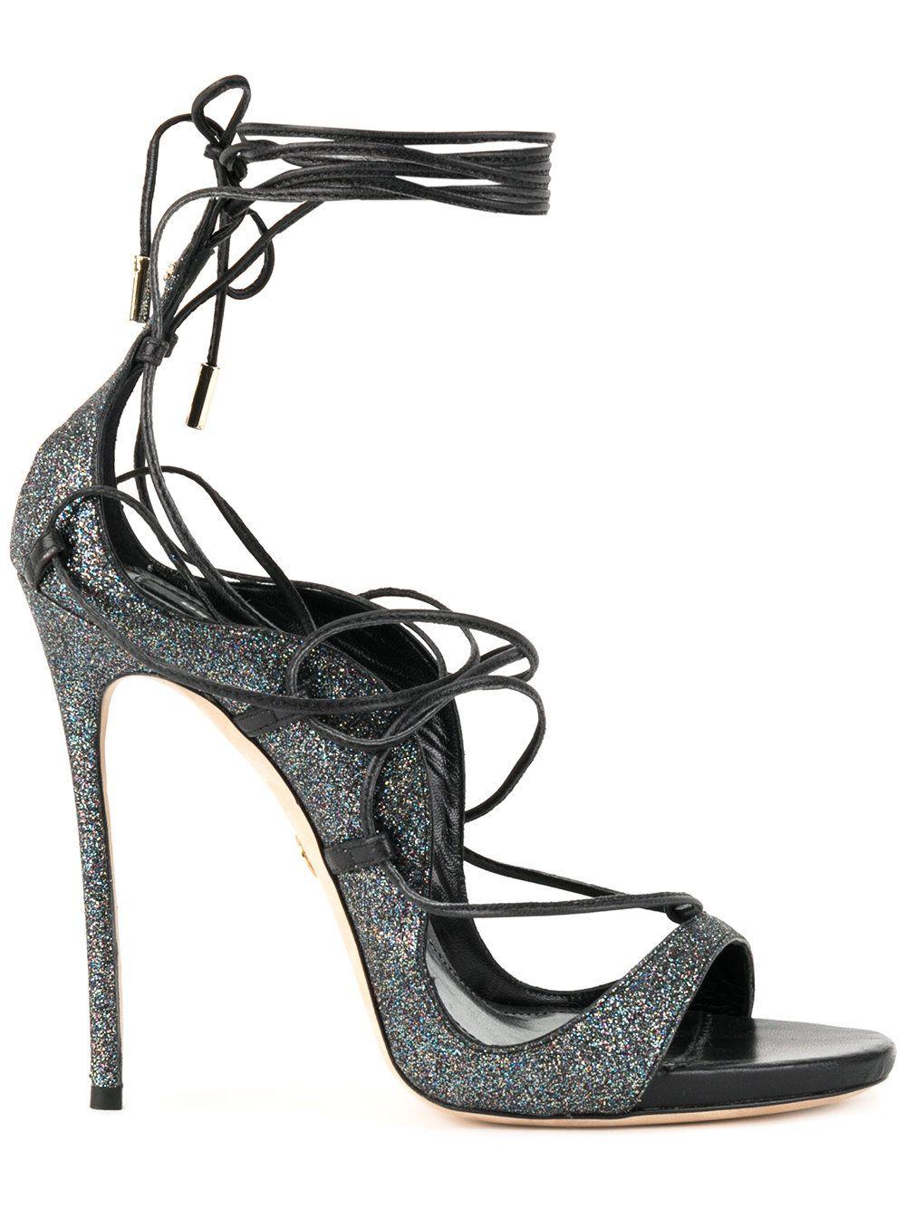 Dsquared2 Riri Glitter Sandals In Grey/Black
