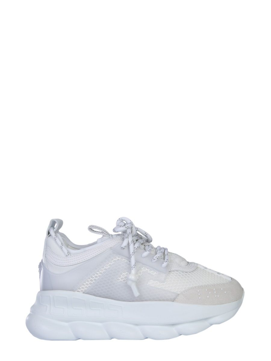Versace Chain Reaction Leather, Mesh And Suede Sneakers In White