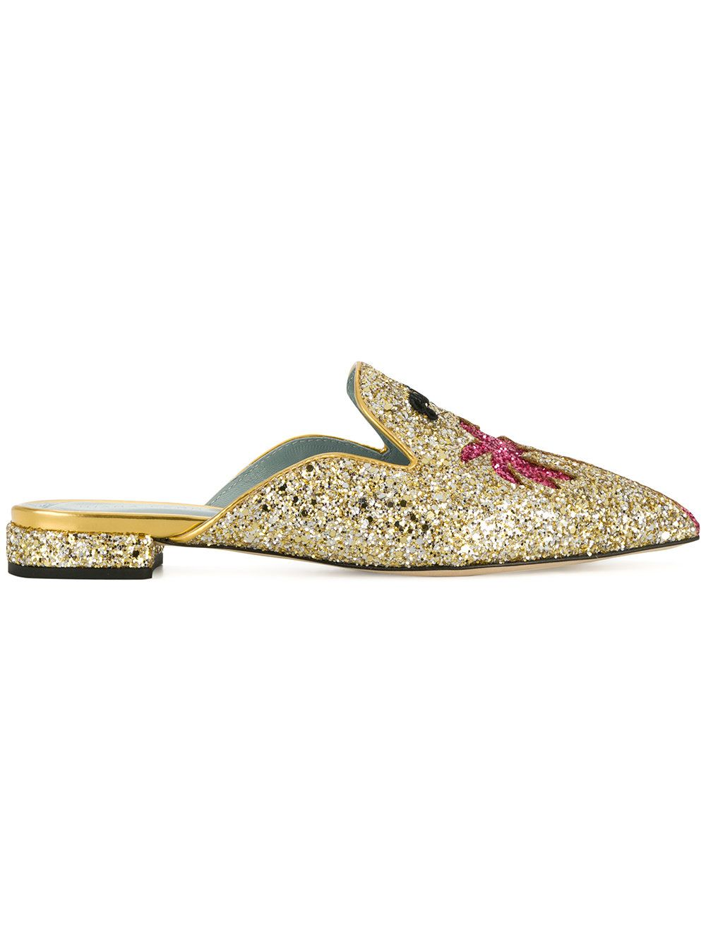 Chiara Ferragni Suite Life Glitter Pointy Mules In Gold