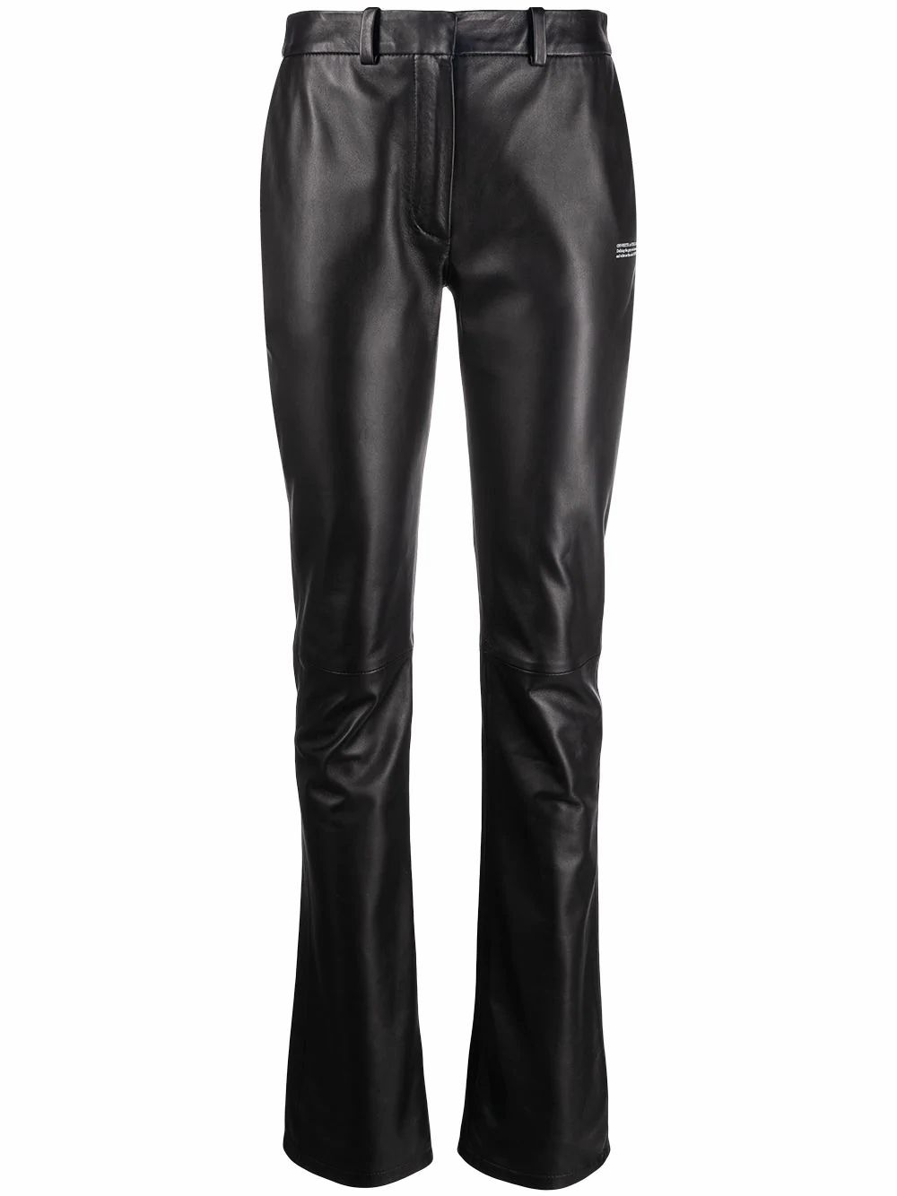 Off-White Leathers OFF-WHITE WOMEN'S BLACK LEATHER PANTS