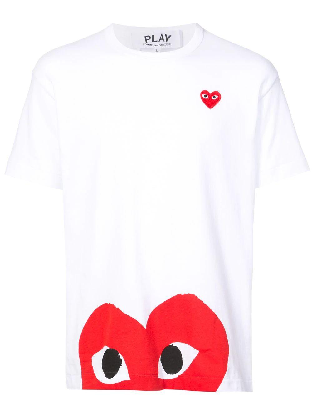 Comme Des Garçons Play Men's White Cotton T-shirt
