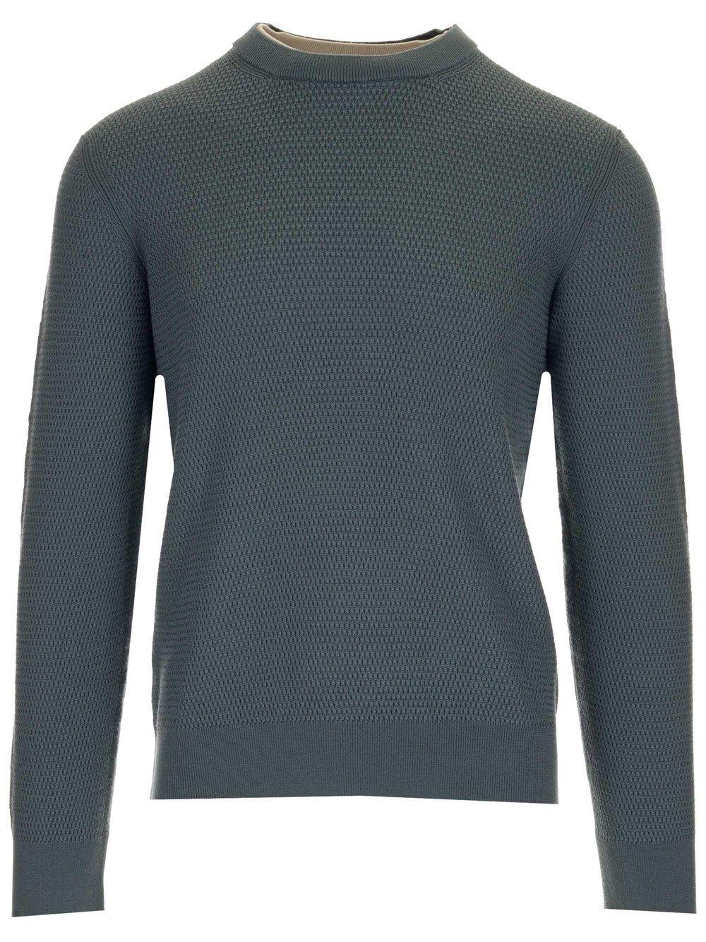 Ermenegildo Zegna Sweaters ERMENEGILDO ZEGNA MEN'S LIGHT BLUE OTHER MATERIALS SWEATER