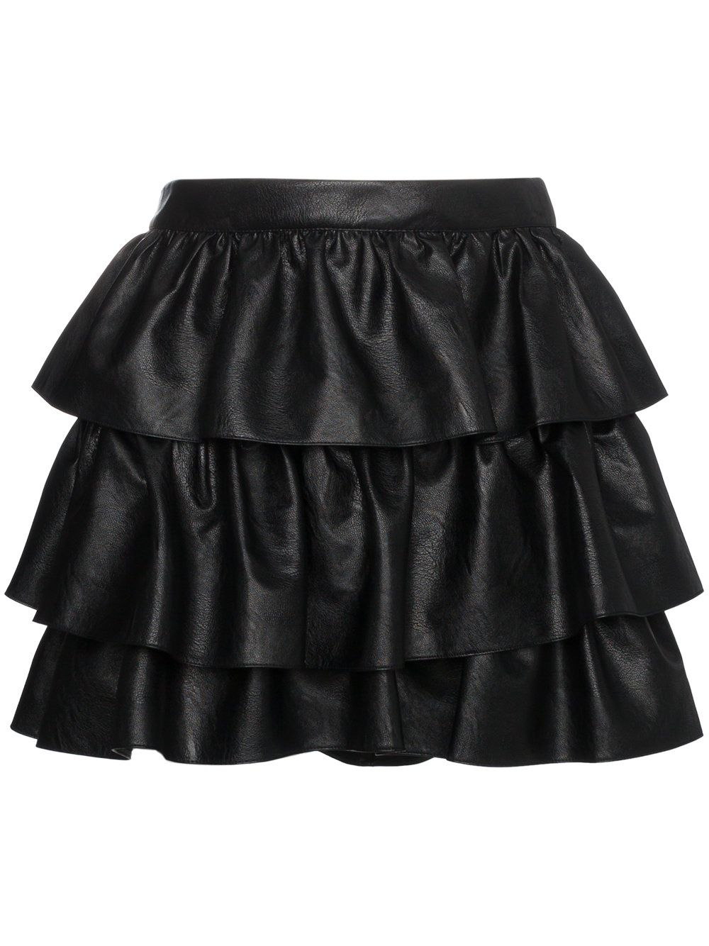 Stella Mccartney Anika Tiered Faux Leather Mini Skirt In Black