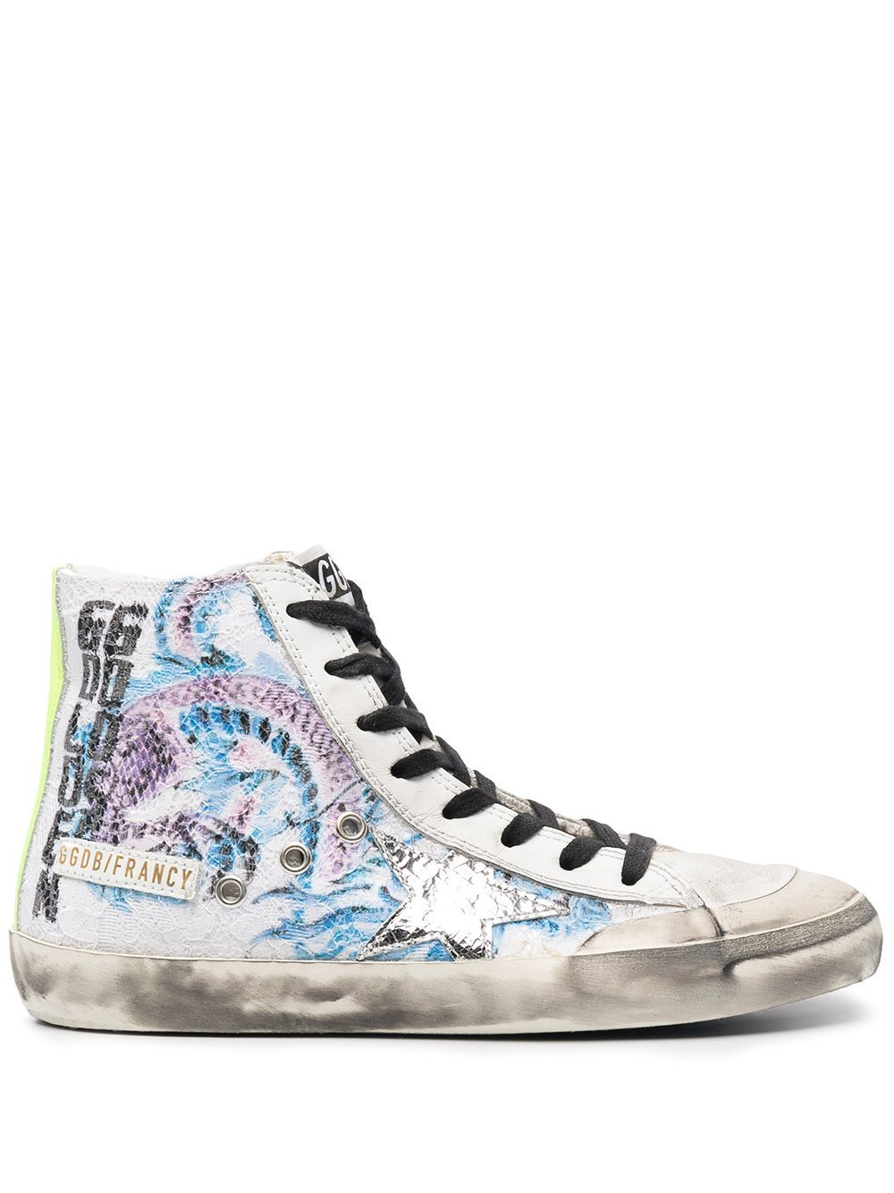Golden Goose GOLDEN GOOSE WOMEN'S WHITE LEATHER HI TOP SNEAKERS