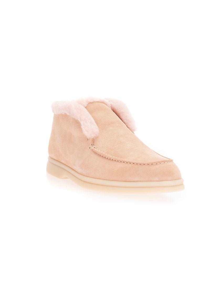 LORO PIANA Boots LORO PIANA WOMEN'S PINK LEATHER ANKLE BOOTS
