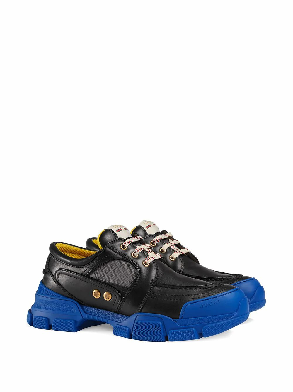 GUCCI Leathers GUCCI MEN'S BLACK LEATHER SNEAKERS