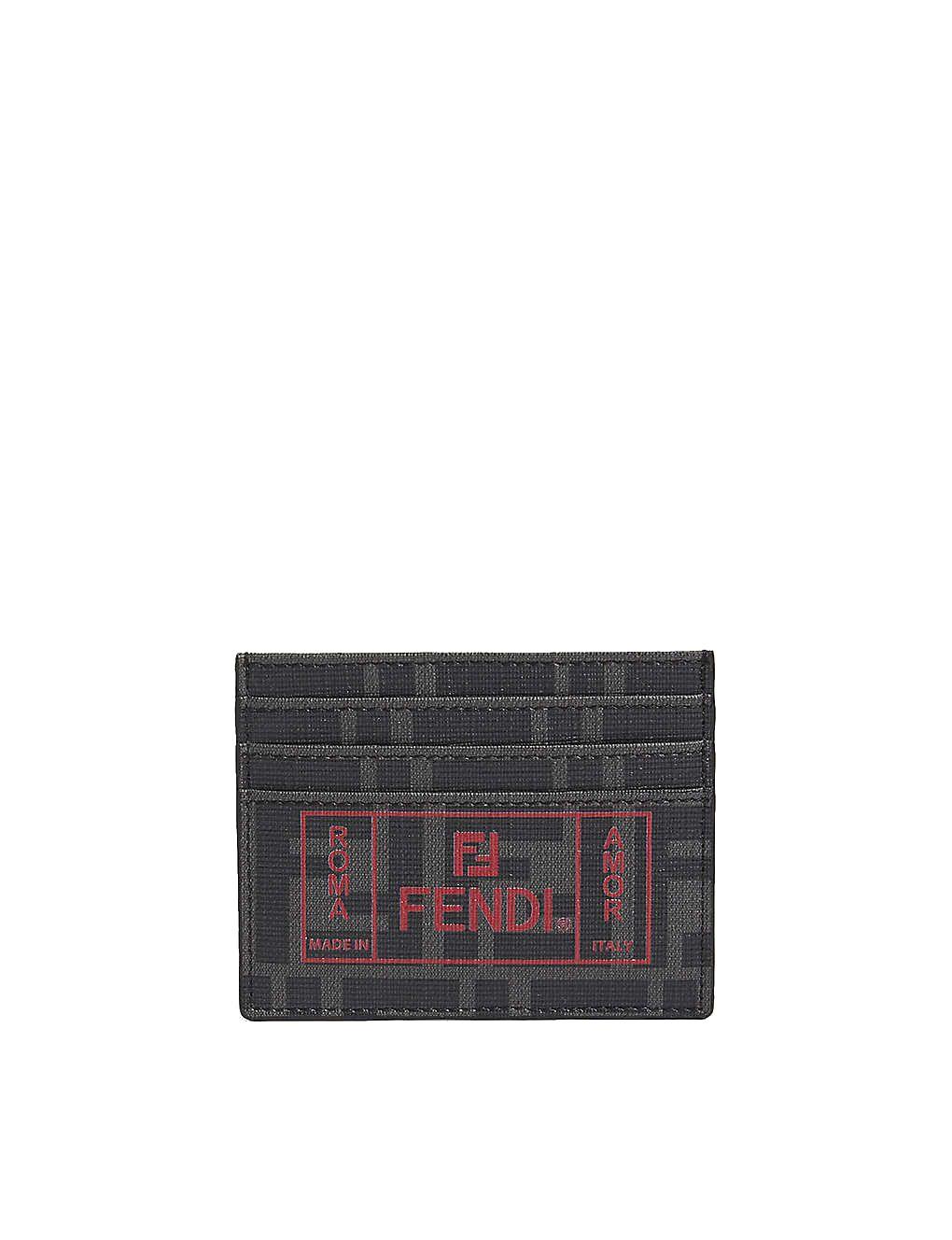 Fendi Black Men's Ff Roma Amor Card Holder In Nero+Rosso