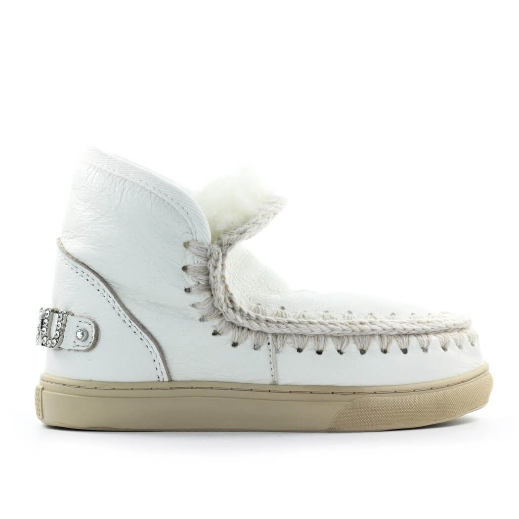 Mou MOU WOMEN'S WHITE LEATHER ANKLE BOOTS