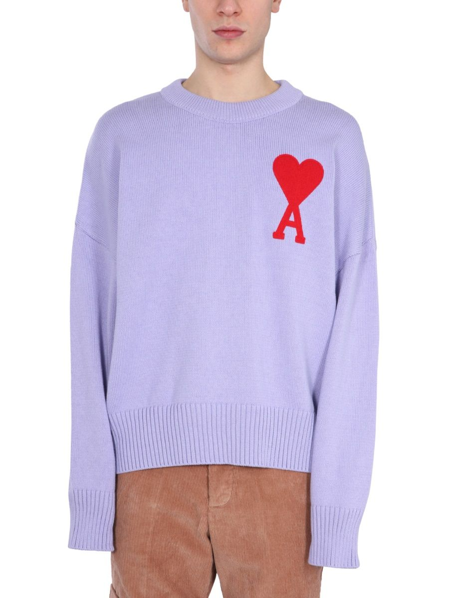 Ami Alexandre Mattiussi Cottons AMI ALEXANDRE MATTIUSSI MEN'S PURPLE OTHER MATERIALS SWEATER
