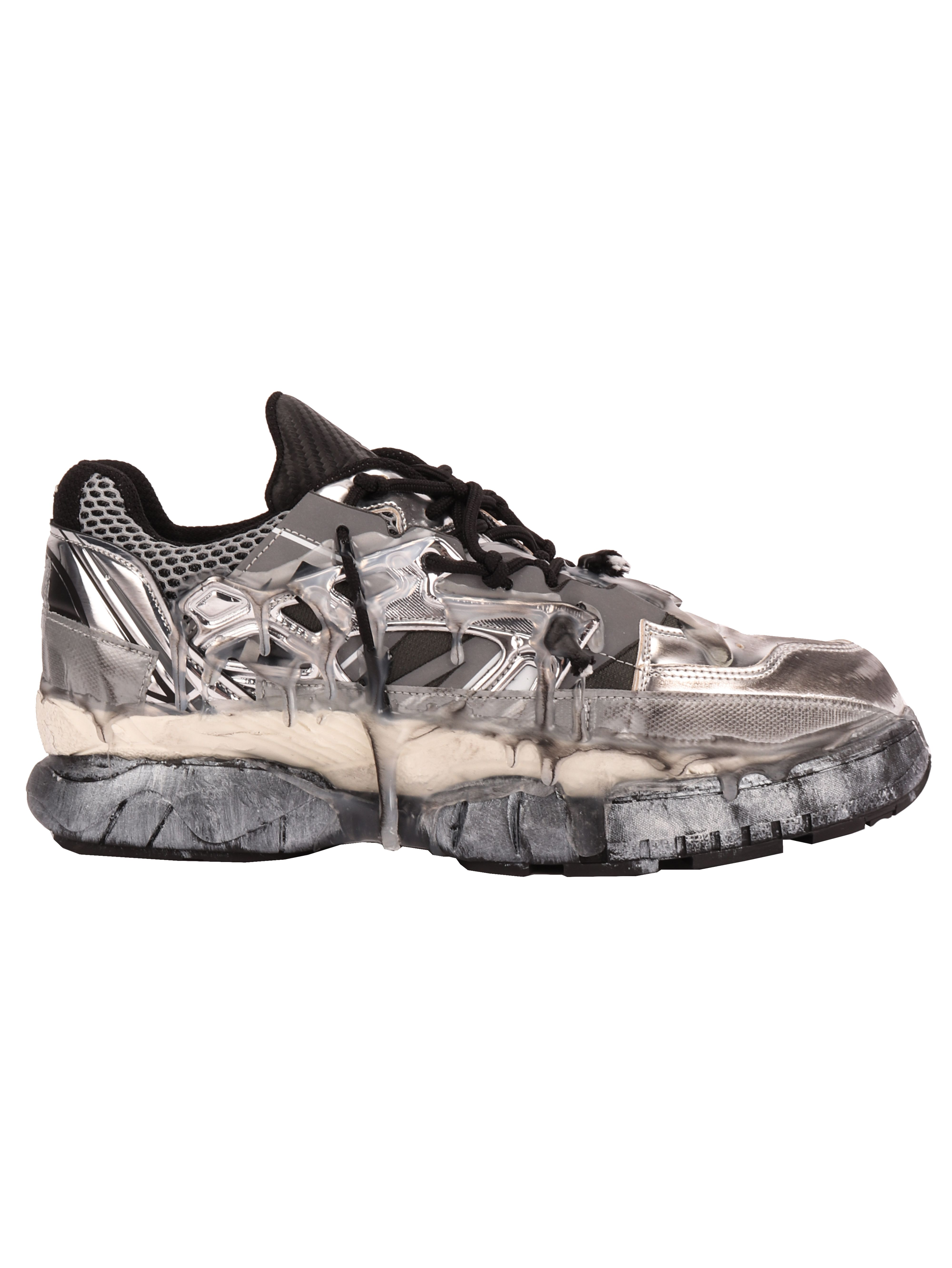 Maison Margiela Fusion Sneakers In Black And Silver
