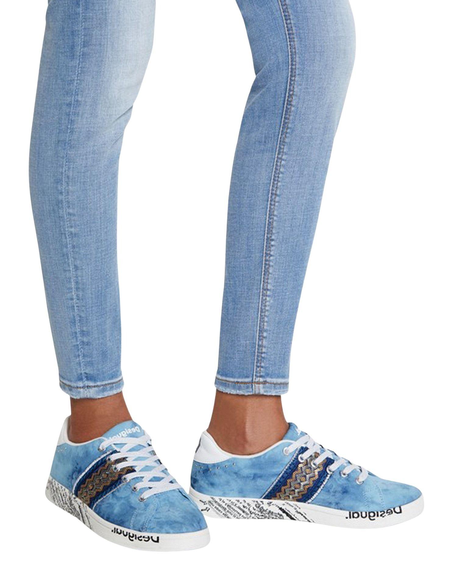 DESIGUAL Sneakers DESIGUAL WOMEN'S LIGHT BLUE COTTON SNEAKERS