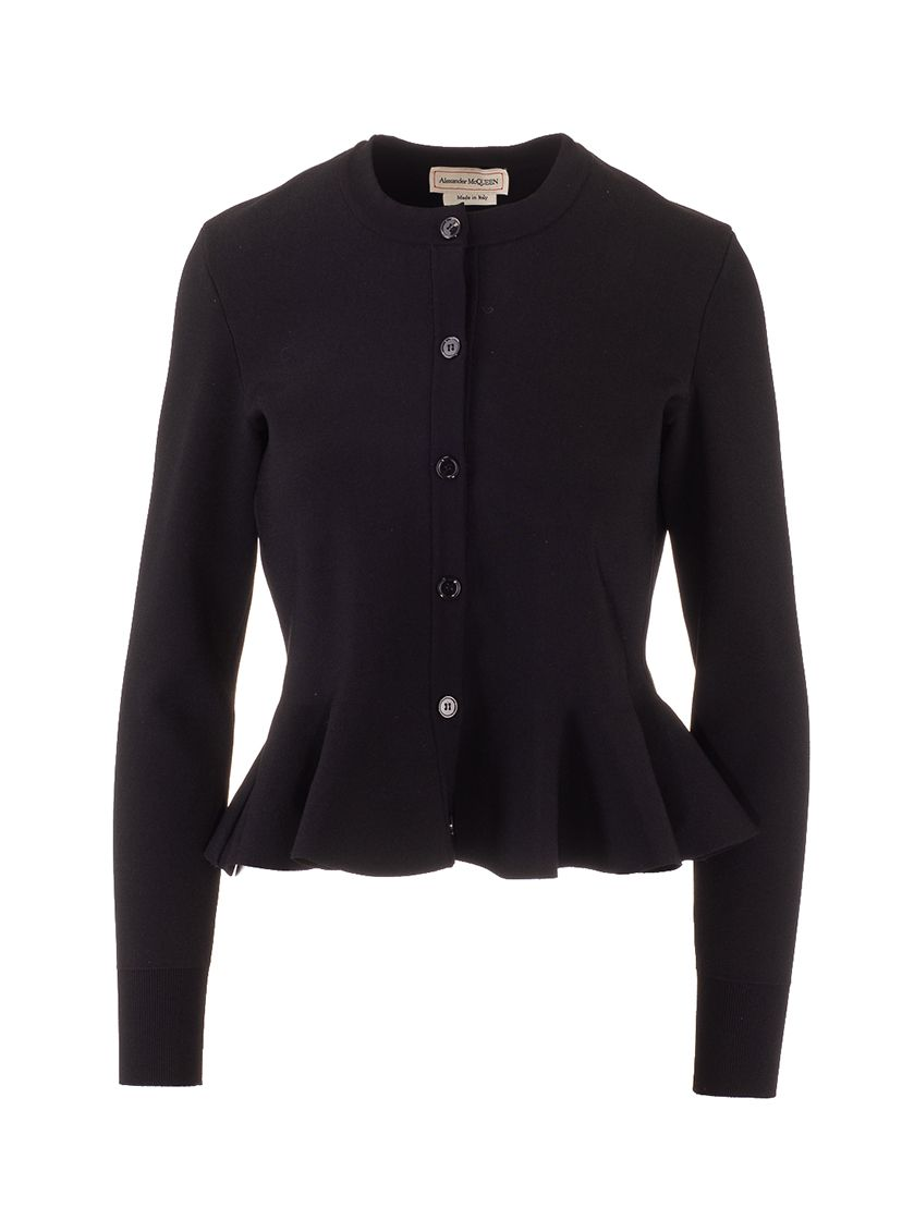 Alexander Mcqueen ALEXANDER MCQUEEN WOMEN'S BLACK OTHER MATERIALS CARDIGAN
