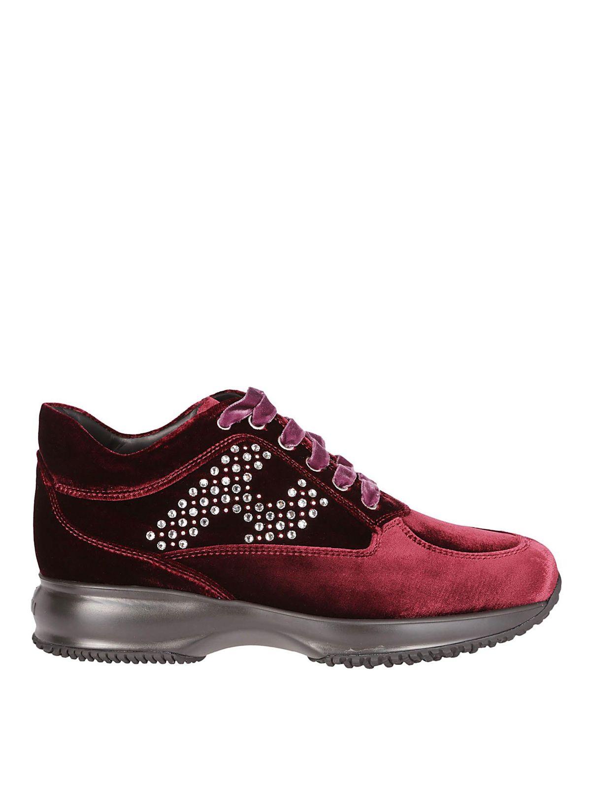 Hogan Burgundy Velvet Lace-Up Shoes