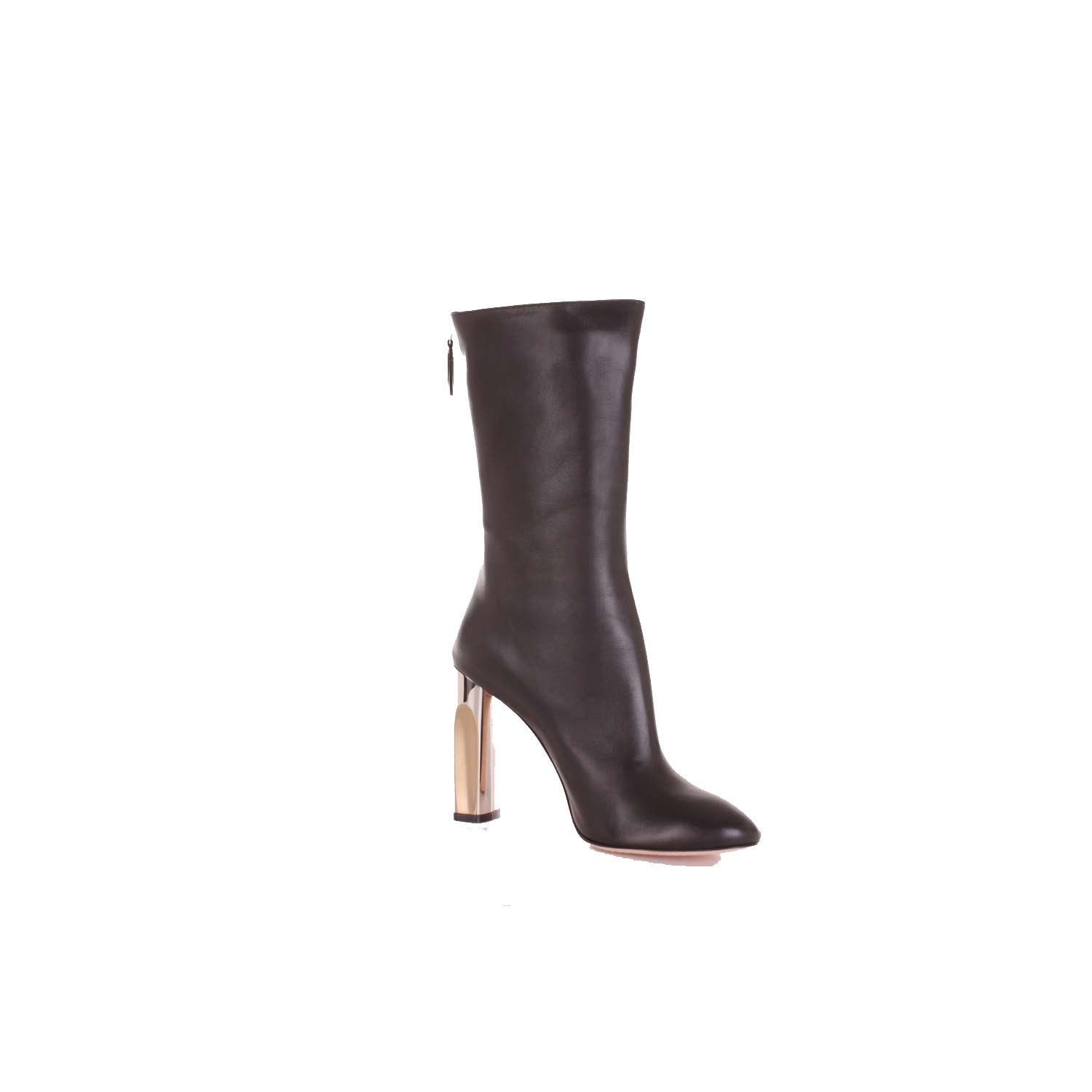 Alexander Mcqueen Black Leather Ankle Boots