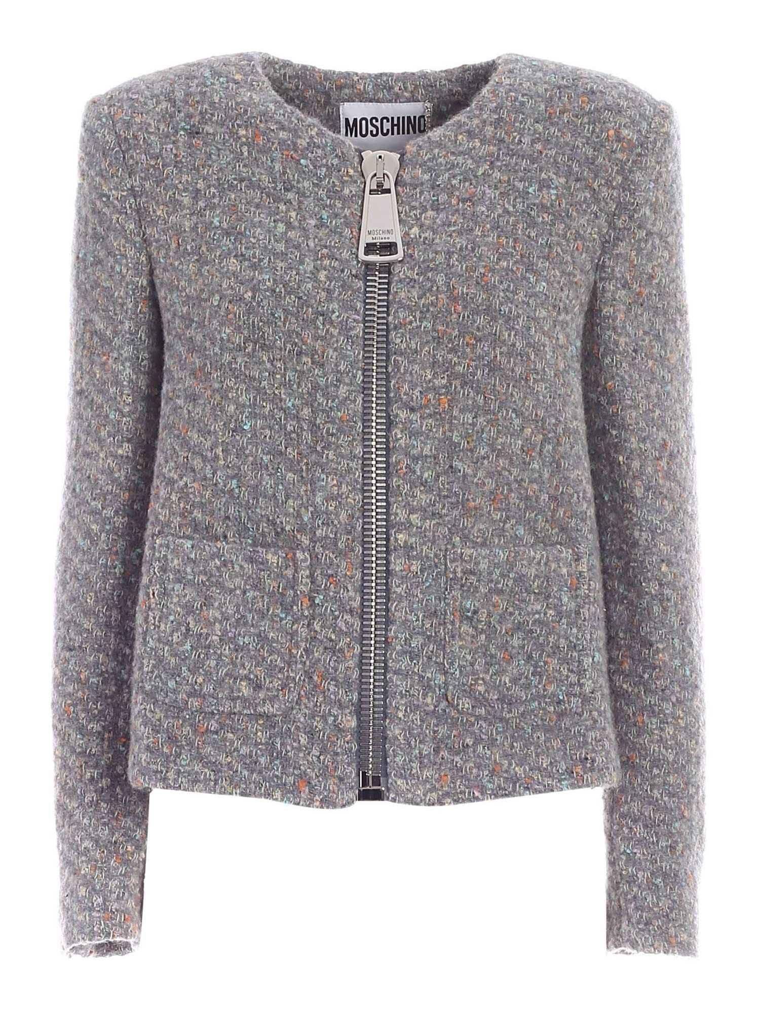 Moschino MOSCHINO WOMEN'S GREY WOOL JACKET